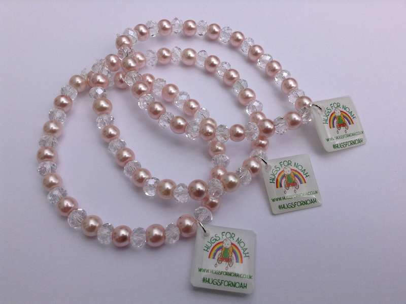 Pale pink & crystal glass stretchy bracelets
