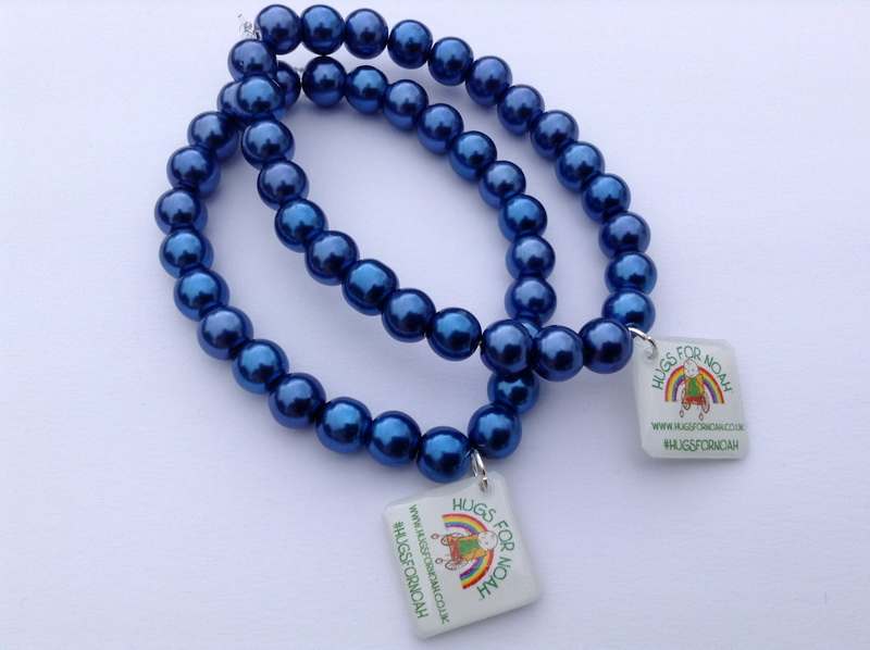 Royal blue glass bead stretch bracelet